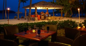 Peter Island Deadmans beach grill by night